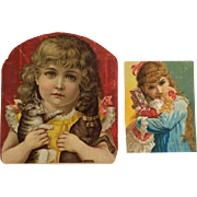 2 Victorian Scrap Girls With Dog, Kitty And Doll