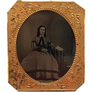 6th Plate Tintype- Identified CWE Mid West Belle In Hoop Skirt