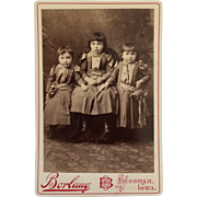 Cabinet Card- Three Timid Little Iowa Girls