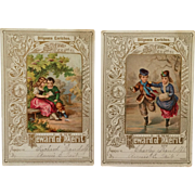 Lot of 2- Rewards Of Merit With Children Ice Skating And Reading