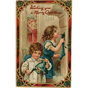 Tuck's- Children On Christmas Morning As St. Nicholas Watches