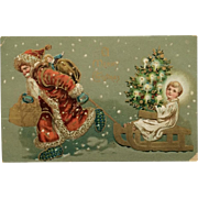 Santa Pulling Sled With Holy Child And Tree