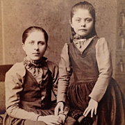 "Cabinet Card-Lovely Young Sisters With ""True Love's Touch"" And Homemade Dresses - Red Tag Sale Item"
