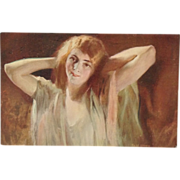 Postcard Beautiful Auburn Haired Woman In Relaxed Pose - Artist Signed Tade Styka