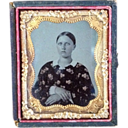 Tintype In Half Case- CWE Young Lady In Tinted Print Dress