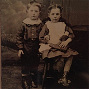 Tintype- Little Girl With Doll And Sweet Brother