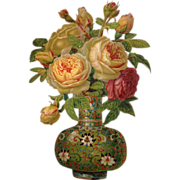 Large Victorian Scrap-Fabulous Die- Cut Asian Inspired Vase With Glorious Rose Bouquet - Red Tag Sale Item