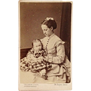 Carte De Visite- Victorian Era Mother Holds Baby Girl - Red Tag Sale Item