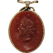 Antique  Carnelian Cameo pendant, fourteen karat yellow gold,  early 19th century