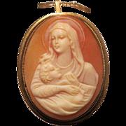 Antique  Shell Cameo brooch/pendant depicting the Holy Virgin,  eighteen karat yellow gold, 19th century