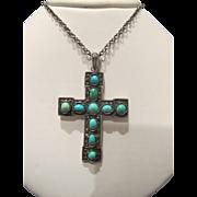 Antique Turquoise Cabochon pendant cross ,silver 925, 19th century