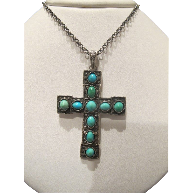 Antique Turquoise Cabochon pendant cross ,silver 925, 19th century