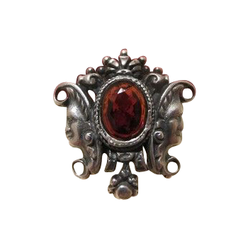 Antique Bohemian Garnet brooch,silver 825, 19th century