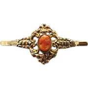 Antique Coral Cameo brooch ,14k  yellow gold, 19th century