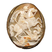 Antique and rare gilded silver Shell Cameo brooch dated at about 1900