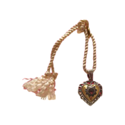 Antique Garnet heart shaped pendant , gilt silver,19th century