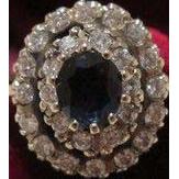 Sapphire and Diamond ring set in fourteen karat white gold