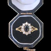 Classic Sapphire and Zirconia ring, set in 10 karat yellow gold, ca. 1960