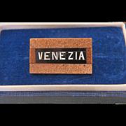 "Grand Tour Era Micro Mosaic ""Venezia"" souvenir brooch,19th century"
