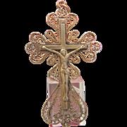 Antique gilded silver cross pendant, 19th century