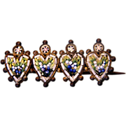 Antique Micro Mosaic brooch consisting of four little hearts