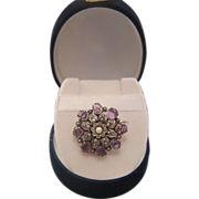 Victorian silver brooch with  Amethysts and seed pearls