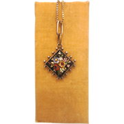 Antique Micro Mosaic silver pendant,19th century