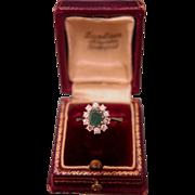 Emerald and Diamond ring ,14k white gold, ca.1960