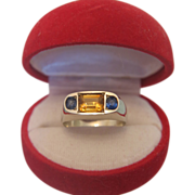 Citrine and Sapphire 3 stone ring set in 18k white gold, ca.1910