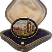 Roman Micro Mosaic brooch depicting the Forum Romanum,hallmarked silver mounting, ca. 1870