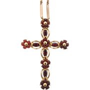 Vintage Garnet cross pendant, 14 k  yellow gold, ca. 1970