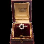 Diamond and  blue Sapphire ring set in fourteen karat white gold, ca.1970