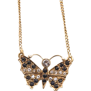 Vintage Diamond and Sapphire butterfly necklace , 14k yellow gold, ca.1960
