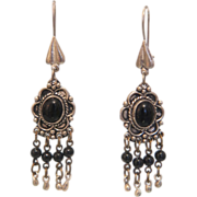 Art Deco silver earrings with an Onyx cabochon, ca. 1930