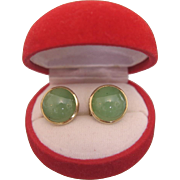 Pair of Jade clips set in 14k yellow gold, ca.1950