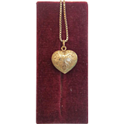 Vintage  heart shaped pendant, 14k yellow gold,ca. 1970