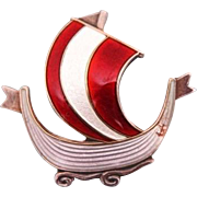 Enamel silver brooch figuring a Viking boat, Norway ca. 1920