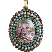 Antique Viennese Enamel locket, with turquoise, seed pearls and Amethysts set in gilt silver, 19th century