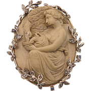 Antique Lava Cameo figuring Hebe and Zeus,14k gold mounting with Diamonds, 19th century