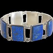 Lapis Lazuli  bracelet set in silver, ca. 1950