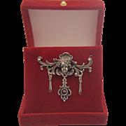 Antique Garnet  silver brooch, 19th century