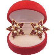 Pair of antique Garnet and cultured pearl pins, ca. 1880