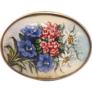 Victorian brooch, water color on parchment set in silver, 19th century