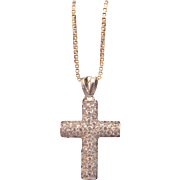 Vintage cross pendant with Zirconia, 14 k white gold, ca. 1960