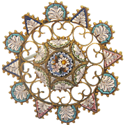 Antique Micro Mosaic brooch set in gilt metal, 19th century