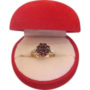 Antique Bohemian  Gablonz Garnet ring, gilt silver, 19th century
