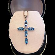 Vintage Blue Topaz and Diamond cross pendant, 14K white gold, ca. 1960