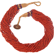 Vintage Coral bead necklace, 39 strands, early 20th century