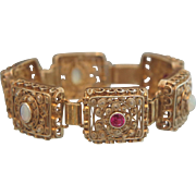Art Nouveau gilt silver bracelet with pink Sapphires and Opals, ca. 1900 - Red Tag Sale Item