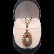 Art Nouveau Opal and pink Sapphire  necklace, ca. 1900